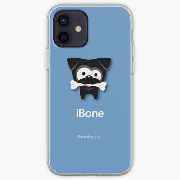 Black Pug iBone iPhone and iPod Cases (blue) iPhone Soft Case
