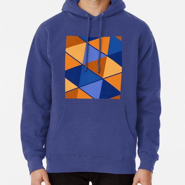 Triangles Blue Orange Mix Pullover Hoodie