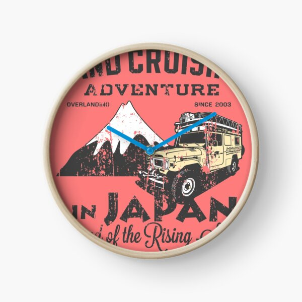 Landcruising Adventure in Japan - Straight font edition Clock