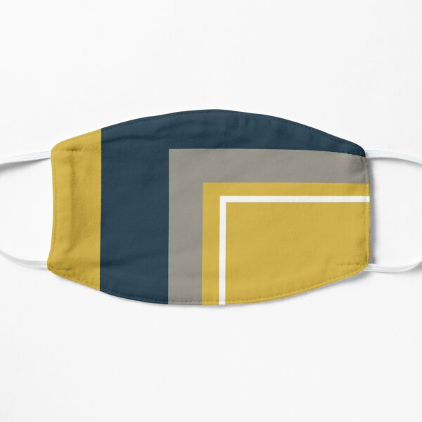 Half Frame Minimalist Geometric Pattern 3 in Mustard Yellow, Navy Blue, White, and Grey Mask