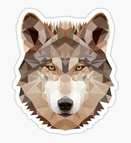 Intense Low Poly Wolf Sticker