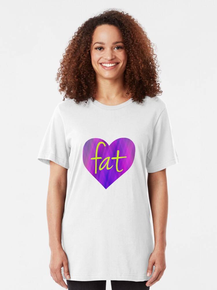 Alternate view of Love Fat (Purple and Yellow) Slim Fit T-Shirt