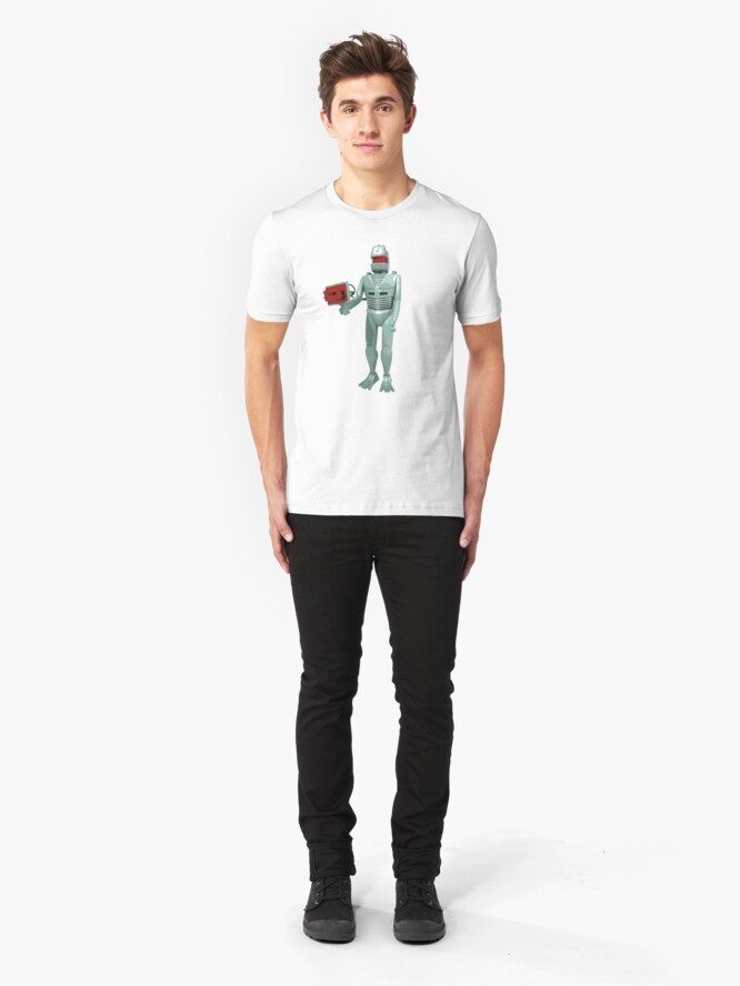 Alternate view of ROM the space knight - retro Action Man (or GI Joe) toy 8-bit style Slim Fit T-Shirt