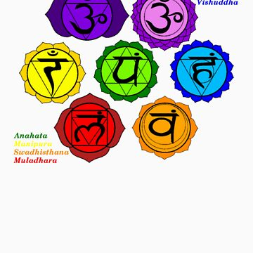 YOGA REIKI PLAIN SEVEN CHAKRAS SYMBOLS LABELED. by ernestbolds