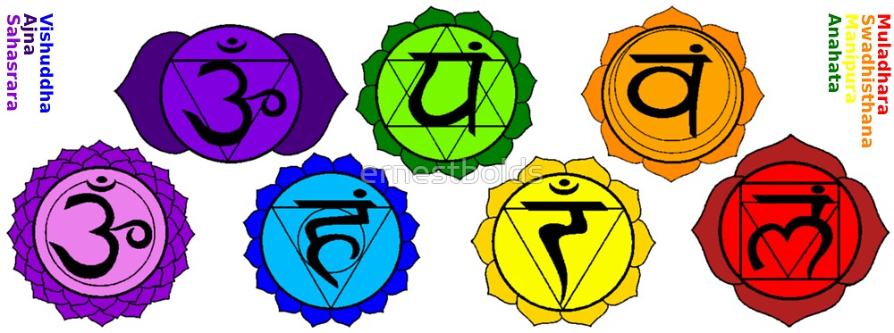 Yoga Reiki Seven Chakra Symbols Labeled Horizontal Template By