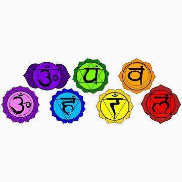 Yoga reiki seven chakras symbols horizontal template. by ernestbolds