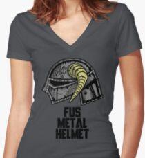 FUS METAL HELMET Women's Fitted V-Neck T-Shirt