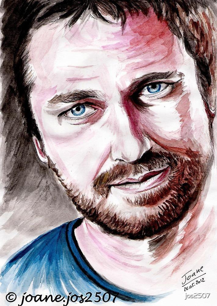 Gerard BUTLER, watercolor portrait by jos2507