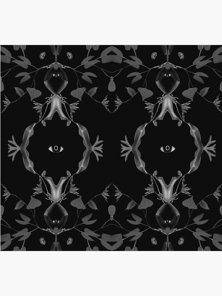 Illusion - collage art, eye, nature, leaves, black by ilariaantolini