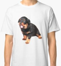 Cute Rottweiler Puppy With Cheeky Expression Classic T-Shirt