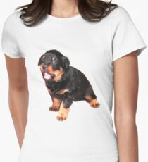Cute Rottweiler Puppy With Cheeky Expression Women's Fitted T-Shirt