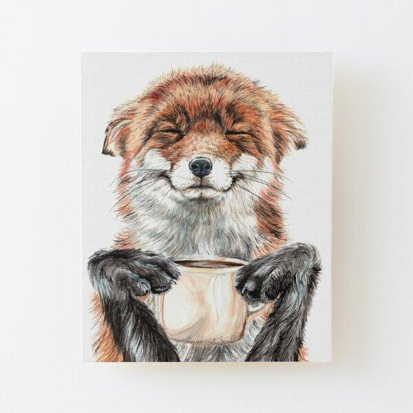 Morning Fox - cute coffee animal Wood Mounted Print