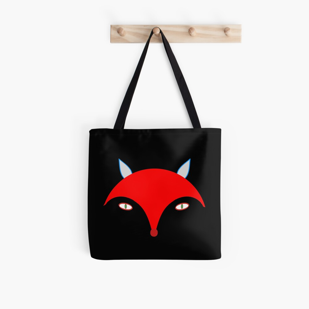 Red Fox (Black) Tote Bag