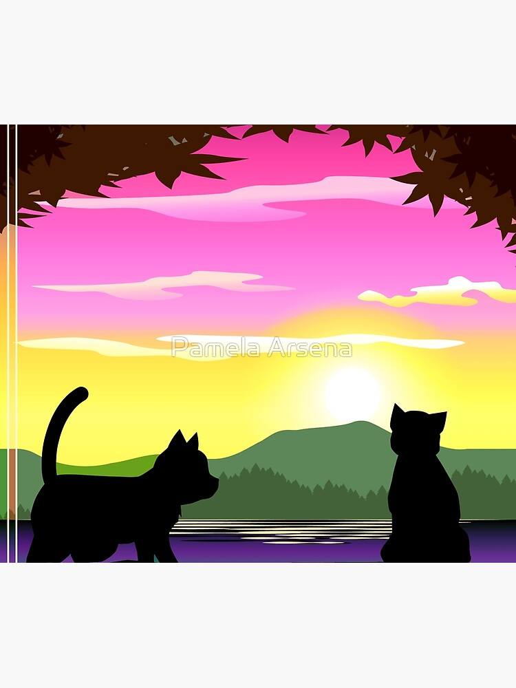 Frisky Fun and Playful Cats and Sunset Colorful Print by xpressio