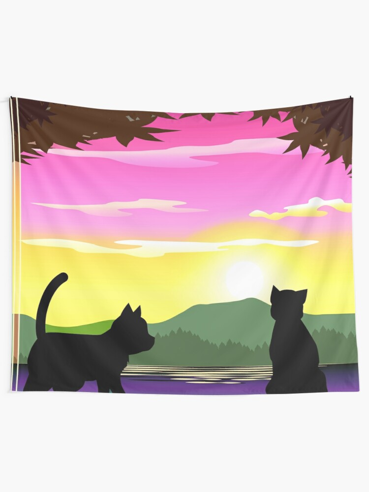 Alternate view of Frisky Fun and Playful Cats and Sunset Colorful Print Tapestry