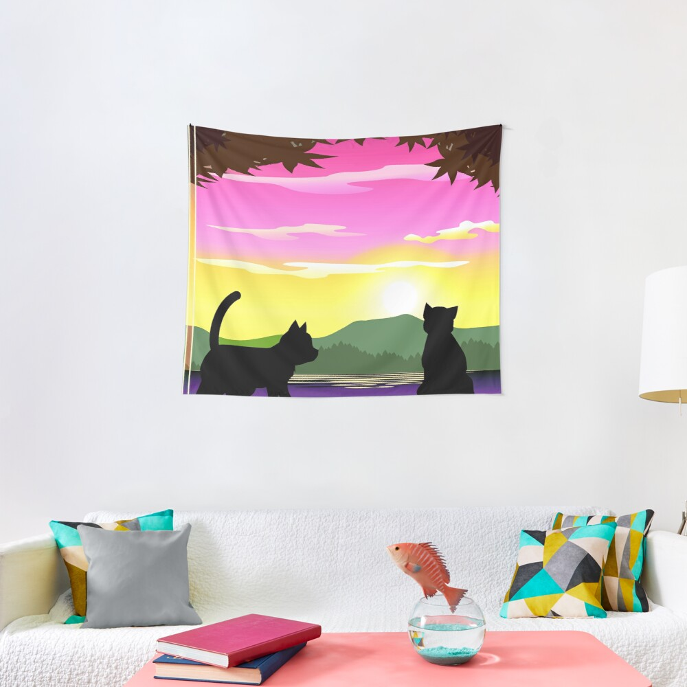 Frisky Fun and Playful Cats and Sunset Colorful Print Tapestry