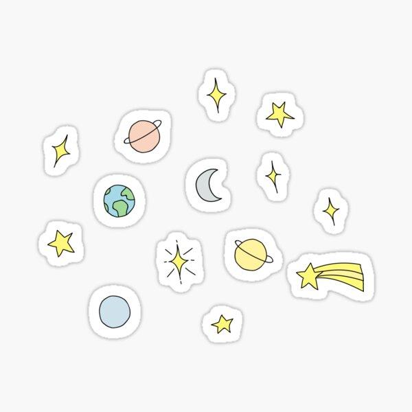 Ensemble d'étoiles et de planètes Sticker