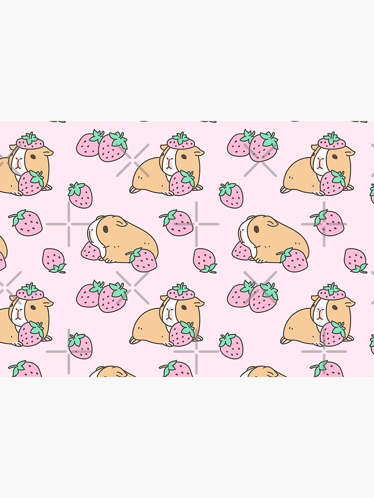 Pink Guinea Pig and Strawberry Pattern  by Miri-Noristudio