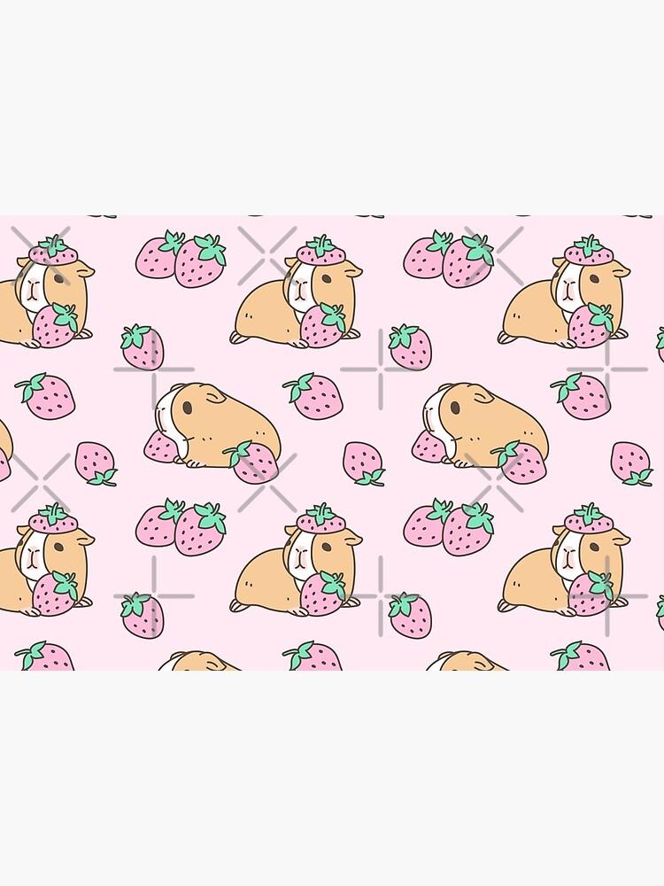 Pink Guinea Pig and Strawberry Pattern  by Miri-Noristudio