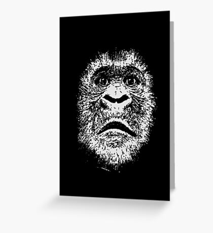 Black and White Face Of A Gorilla Greeting Card