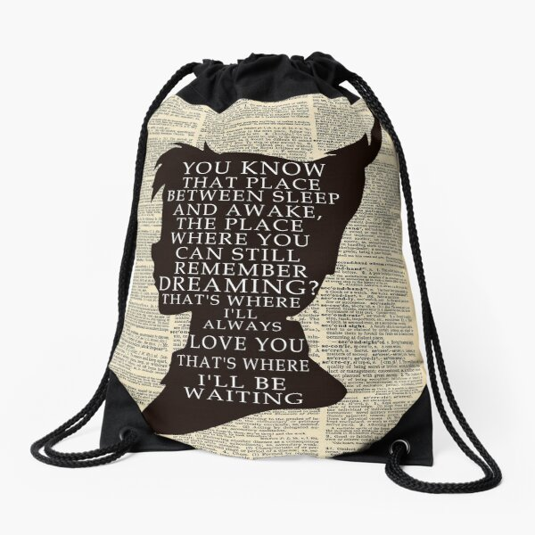 Peter Pan Over Vintage Dictionary Page - That Place Drawstring Bag