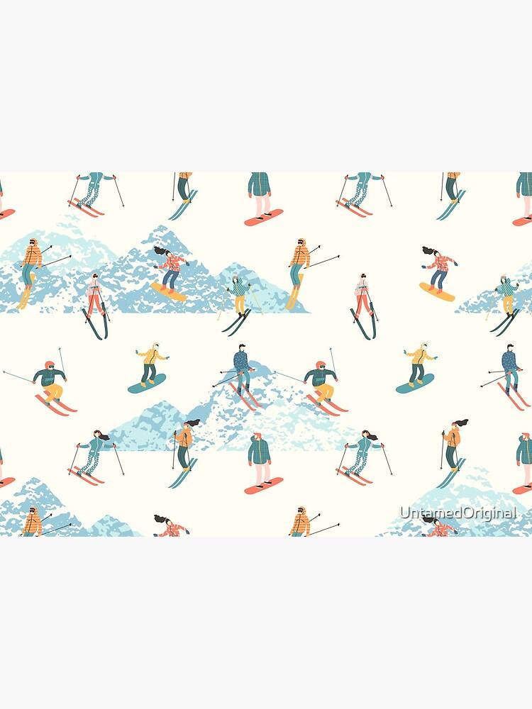 Alpine Mountain Ski Resort | Skier Snowboarder Pattern | Skiing Snowboarding | Rocky Mountain Snow Powder by UntamedOriginal