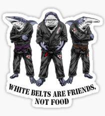 White belts are friends not food Sticker