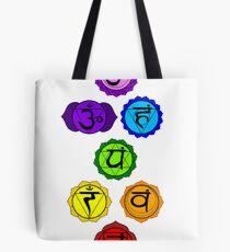 Yoga Reiki seven chakras symbols vertical template Tote Bag