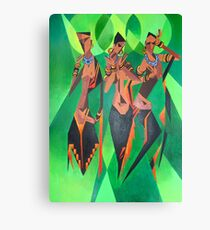 Three Ethnic Traditional Black Women Dancing Canvas Print