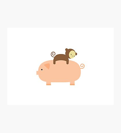 Baby Monkey Riding on a Pig Photographic Print