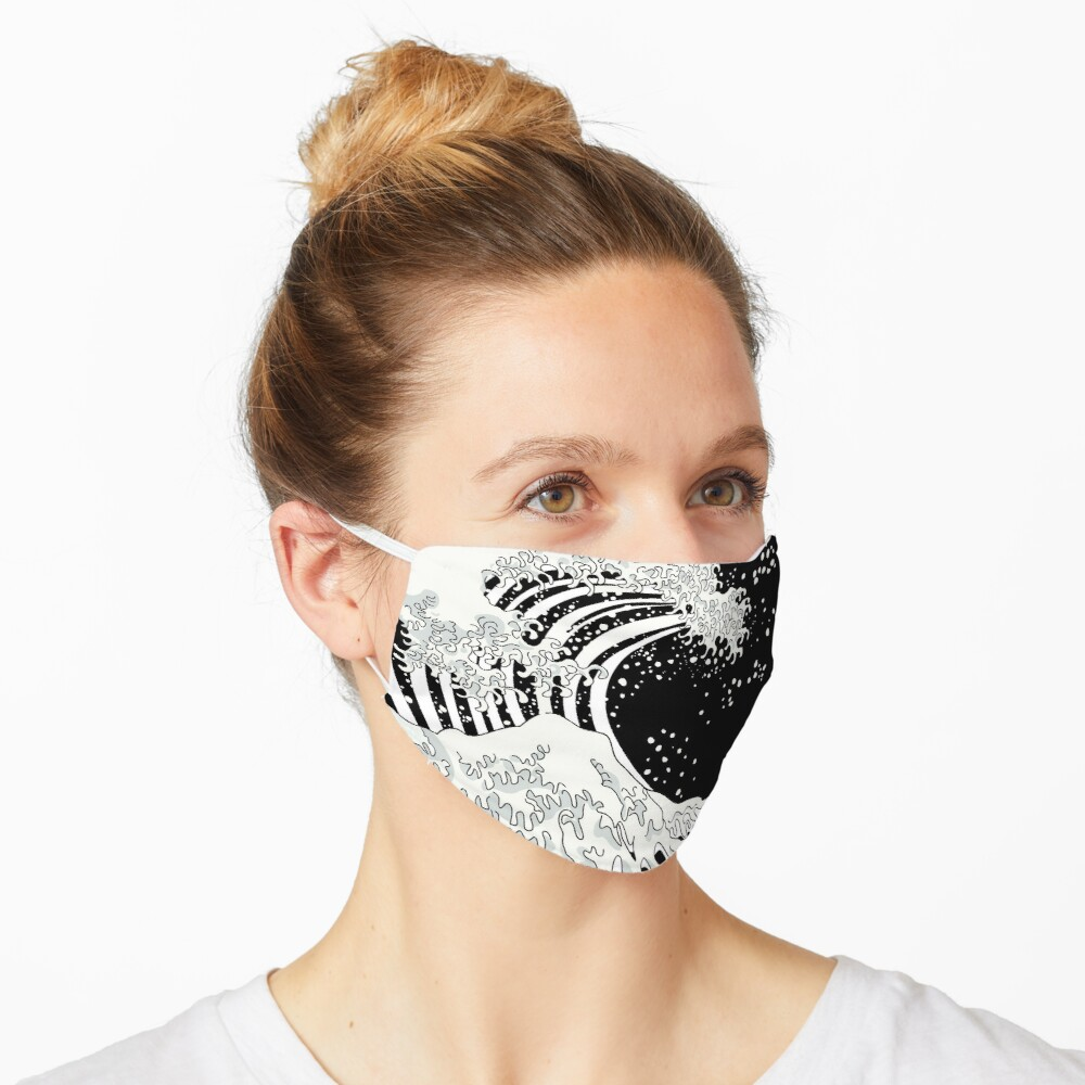 Black and White Great Wave Mask