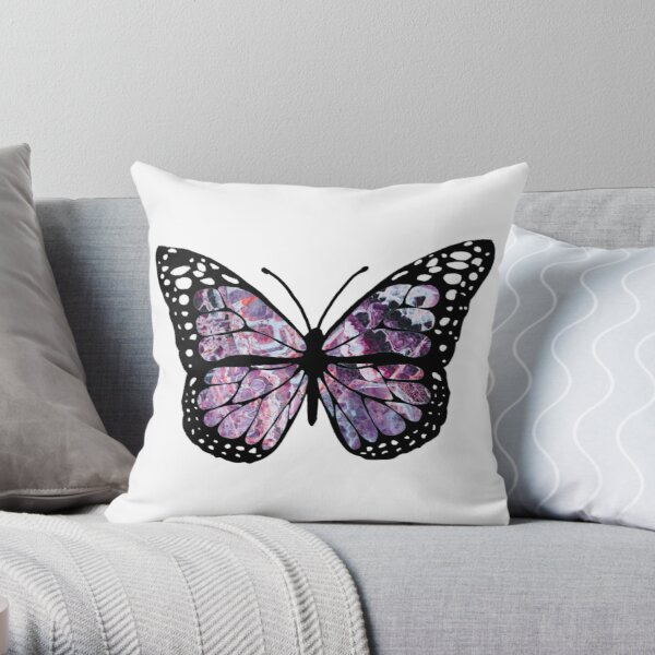 amethyst butterfly Throw Pillow