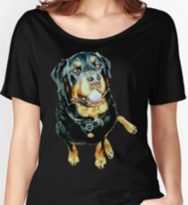 Male Rottweiler Photo Portrait Women's Relaxed Fit T-Shirt