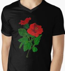 A Tropical Red Hibiscus Flower Isolated Men's V-Neck T-Shirt