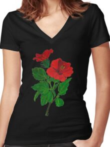 A Red Hibiscus Flower Isolated On White Background Women's Fitted V-Neck T-Shirt