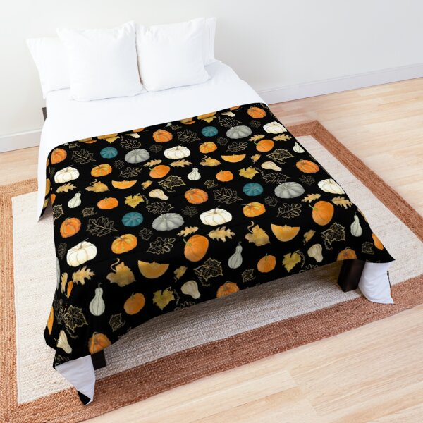 Halloween Pumpkins and Gold Leaf Pattern Comforter