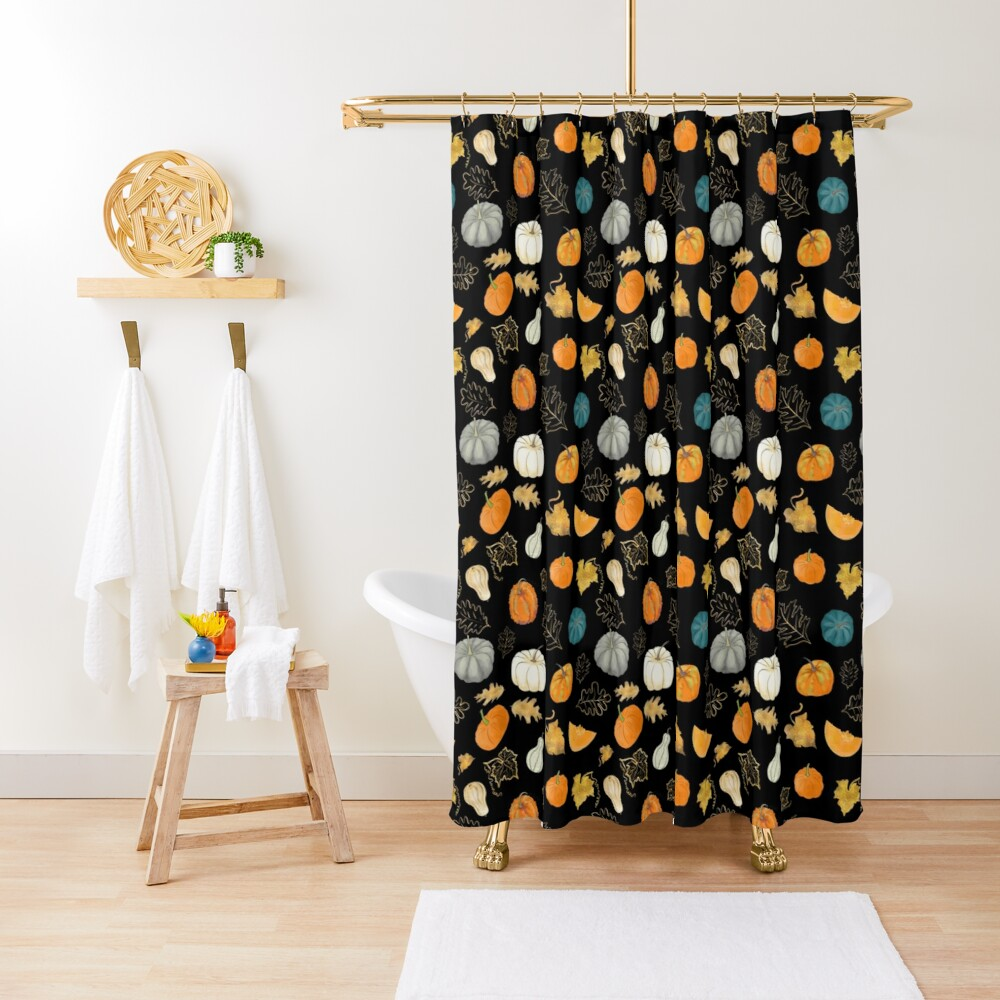 Halloween Pumpkins and Gold Leaf Pattern Shower Curtain