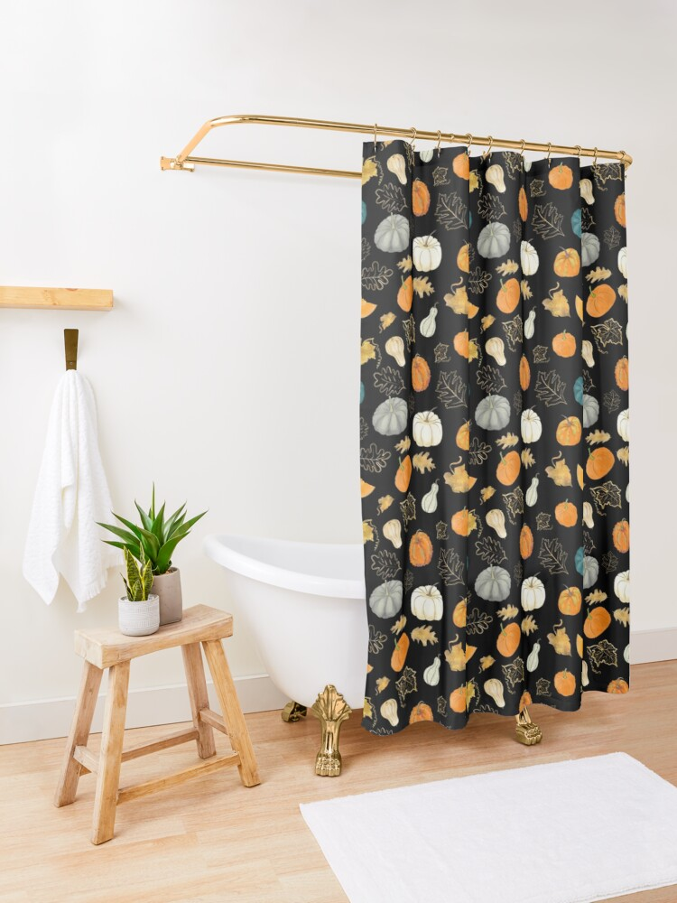 Alternate view of Halloween Pumpkins and Gold Leaf Pattern Shower Curtain