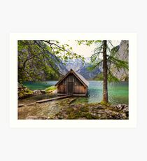 Framed boathouse Art Print