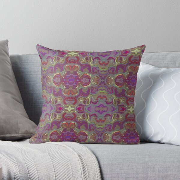 Purple and Red Abstract Watercolor Throw Pillow