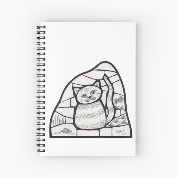Happy Cat mosaic illustration Spiral Notebook