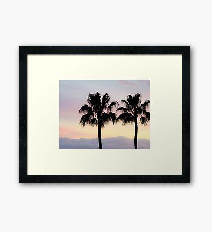 Palm trees at sunrise Framed Art Print