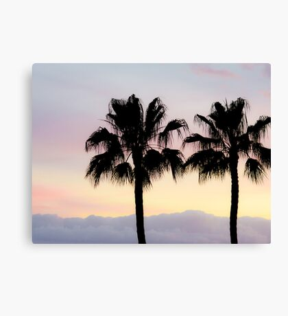 Palm trees at sunrise Canvas Print