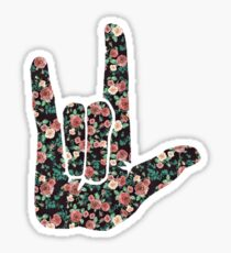 Floral Sign Language I Love You Sticker