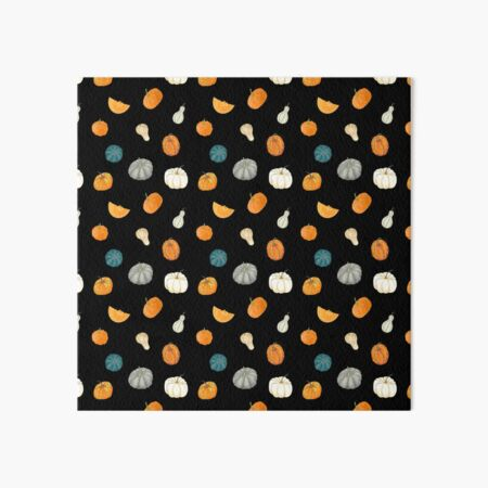 Halloween Pumpkins and Gourds - black palette Art Board Print