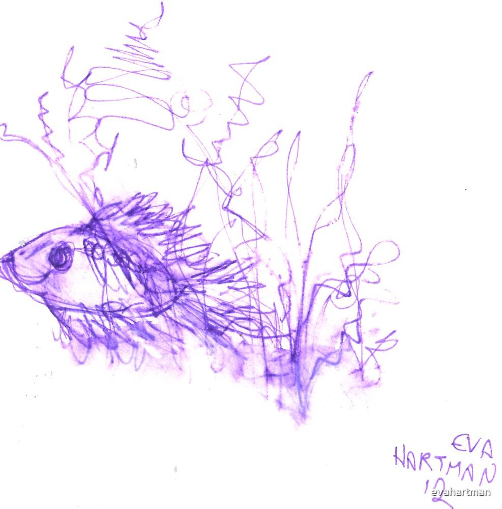 Inkpen on Paper Violet Fish by evahartman