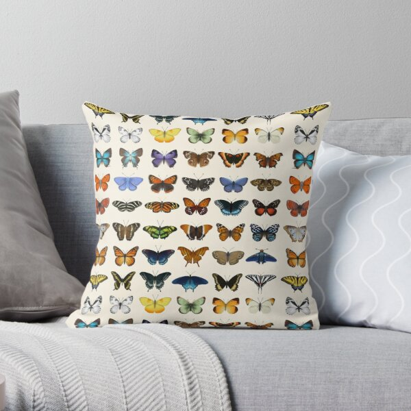 Butterflies of North America Throw Pillow