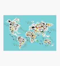 Cartoon animal world map for children Photographic Print