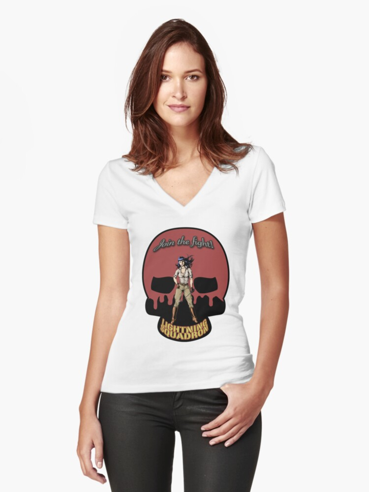 Lightning Squadron Deathshead (Katie Galaxy) Women's Fitted V-Neck T-Shirt Front