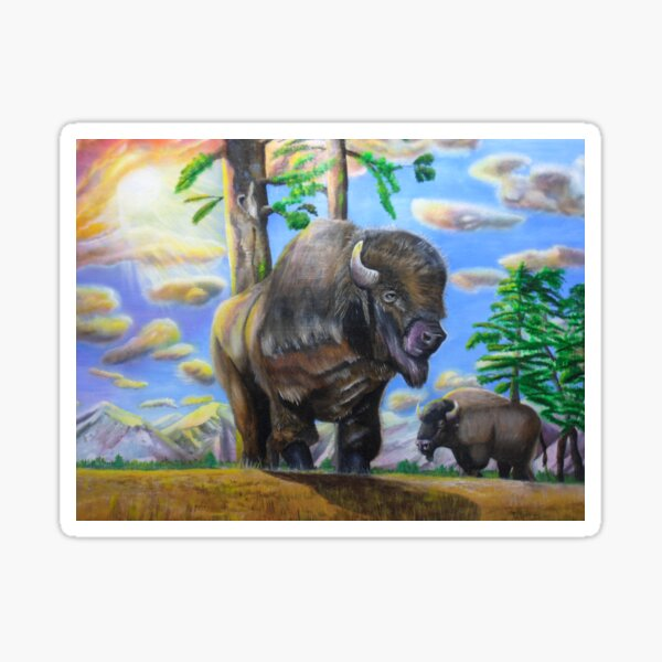 Majestic Bison Acrylic Art Sticker